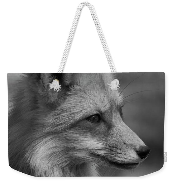 Red Fox Portrait In Black And White Weekender Tote Bag