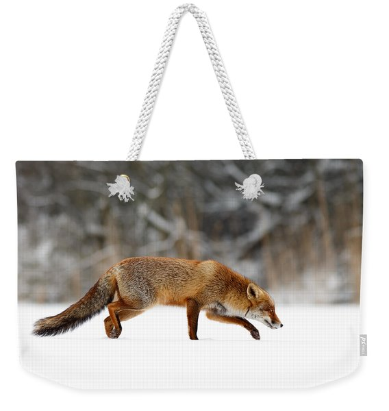 Red Fox Running Through A White World Weekender Tote Bag