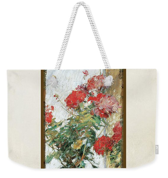 Red Geraniums Against A Sunny Wall Weekender Tote Bag