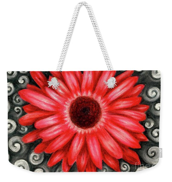 Weekender Tote Bag featuring the drawing Red Gerbera Daisy Drawing by Kristin Aquariann