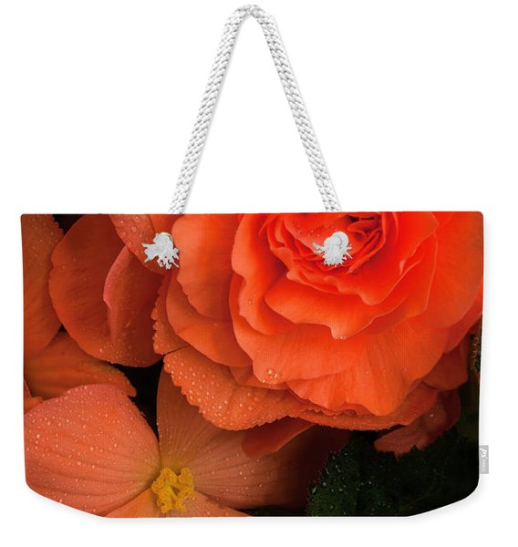 Red Giant Begonia Ruffle Form Weekender Tote Bag
