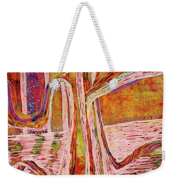 Red-gold Autumn Glow River Tree Weekender Tote Bag