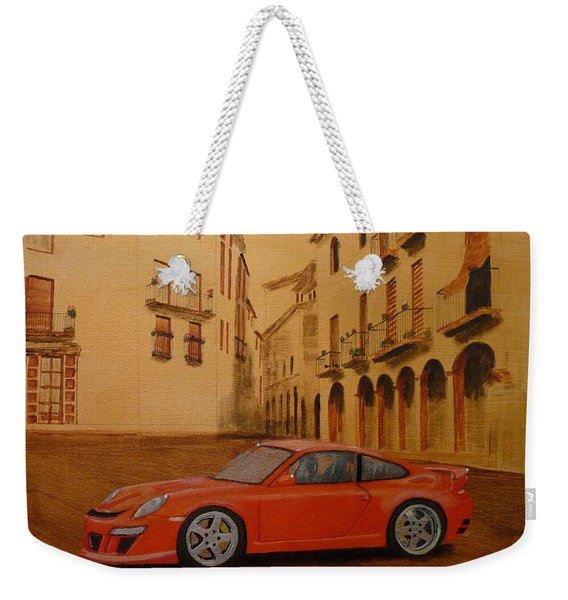 Weekender Tote Bag featuring the painting Red Gt3 Porsche by Richard Le Page
