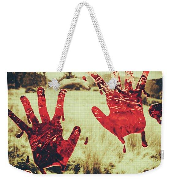 Red Handprints On Glass Of Windows Weekender Tote Bag