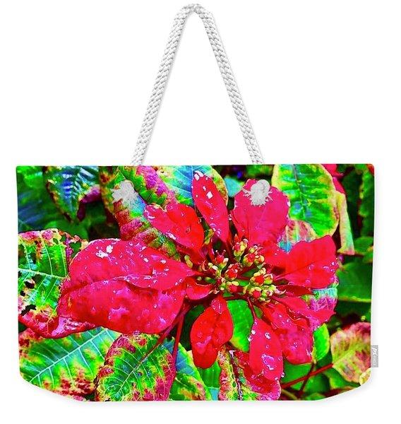 Red Hawaiian Poinsettia Weekender Tote Bag