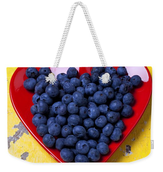 Red Heart Plate With Blueberries Weekender Tote Bag