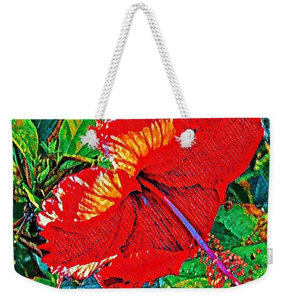 Red Hibiscus Aslant Weekender Tote Bag