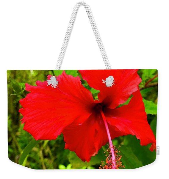 Red Hibiscus In Puna Weekender Tote Bag