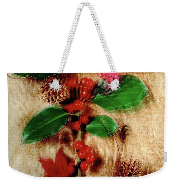 Red Holly Spinning Weekender Tote Bag
