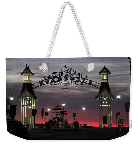 Red Horizon Thru The Boardwalk Arch Weekender Tote Bag
