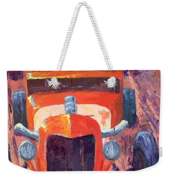 Red Hot Rod Sedan Weekender Tote Bag
