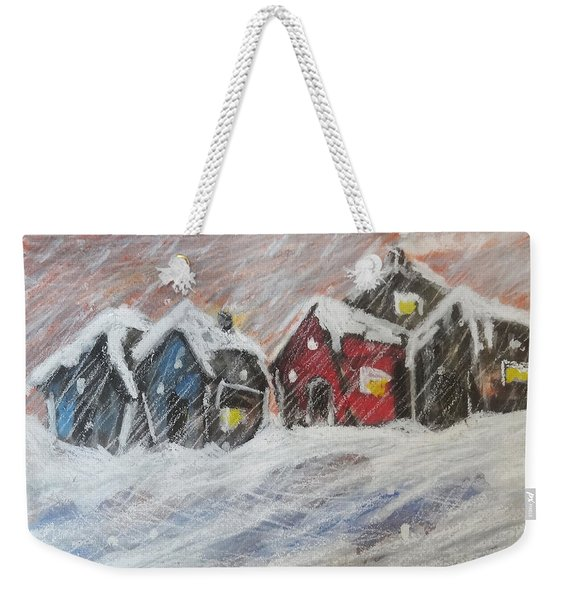 Red House In The Snow Weekender Tote Bag