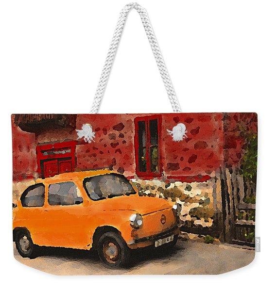 Red House With Orange Car Weekender Tote Bag