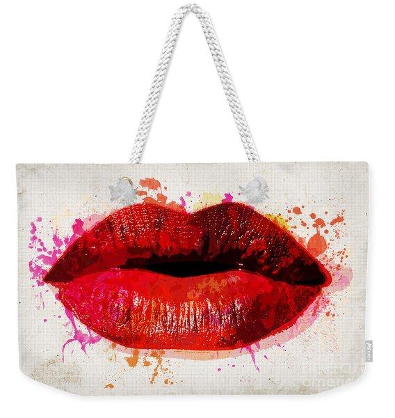 Red Kiss Watercolor Weekender Tote Bag