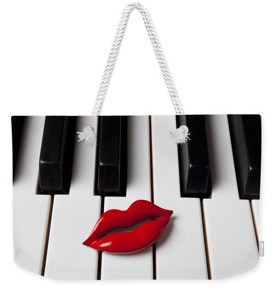 Red Lips On Piano Keys Weekender Tote Bag