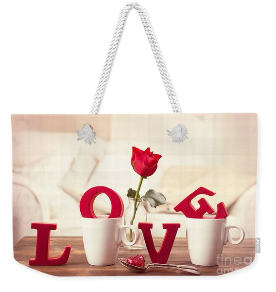 Red Love Letters For Valentines Day Weekender Tote Bag