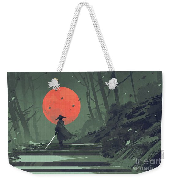 Weekender Tote Bag featuring the painting Red Moon Night by Tithi Luadthong