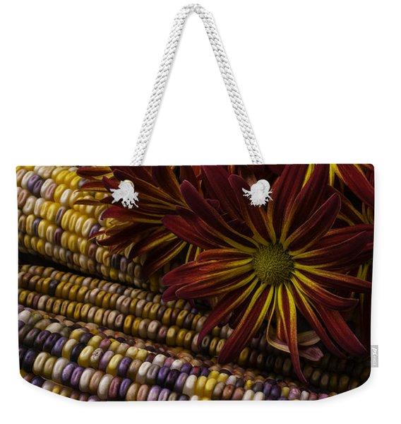 Red Mums And Indian Corn Weekender Tote Bag
