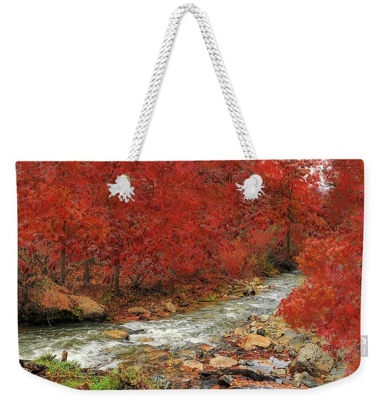 Weekender Tote Bag featuring the photograph Red Oak Creek by Scott Cordell