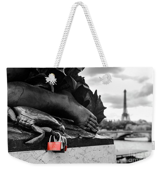 Red Padlocks In Paris Weekender Tote Bag