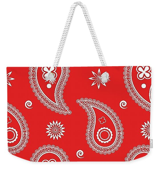 Red Paisley Weekender Tote Bag