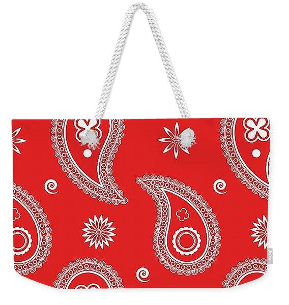 Red Paisley Weekender Tote Bag
