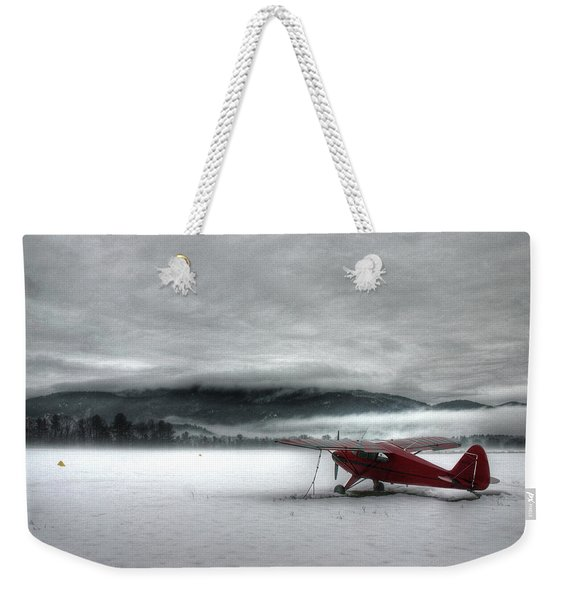 Weekender Tote Bag featuring the photograph Red Plane In A Monochrome World by Wayne King
