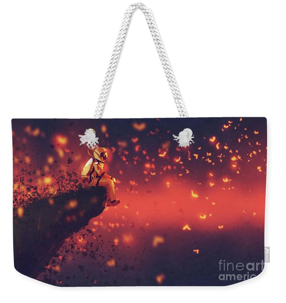 Weekender Tote Bag featuring the painting Red Planet by Tithi Luadthong