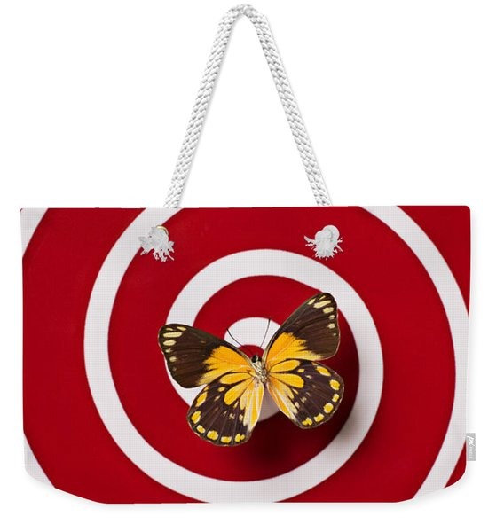 Red Plate And Yellow Black Butterfly Weekender Tote Bag