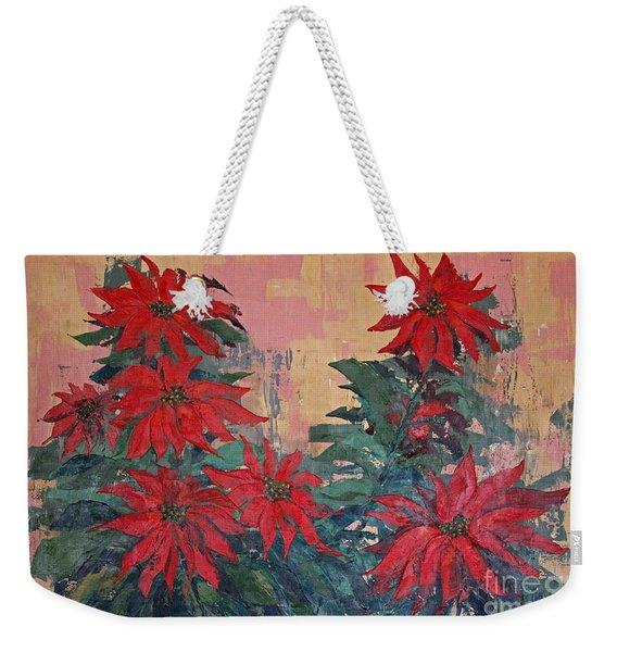 Red Poinsettias By George Wood Weekender Tote Bag