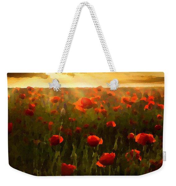 Red Poppies In The Sun Weekender Tote Bag