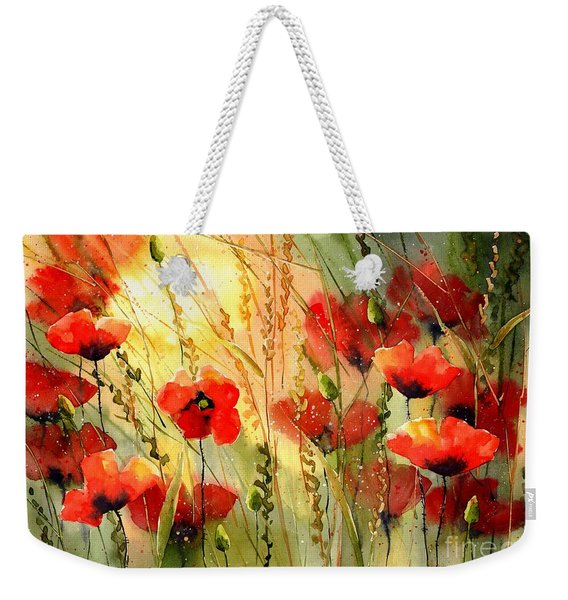 Red Poppies Watercolor Weekender Tote Bag