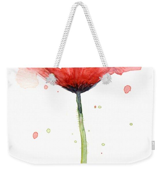 Red Poppy Watercolor Weekender Tote Bag