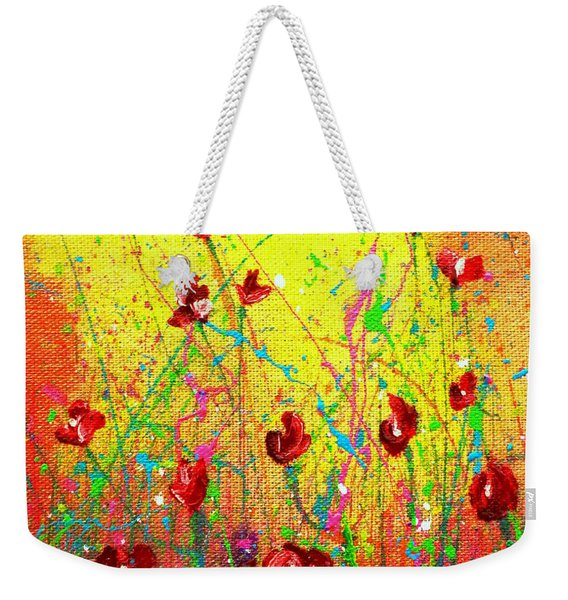 Red Posies Weekender Tote Bag