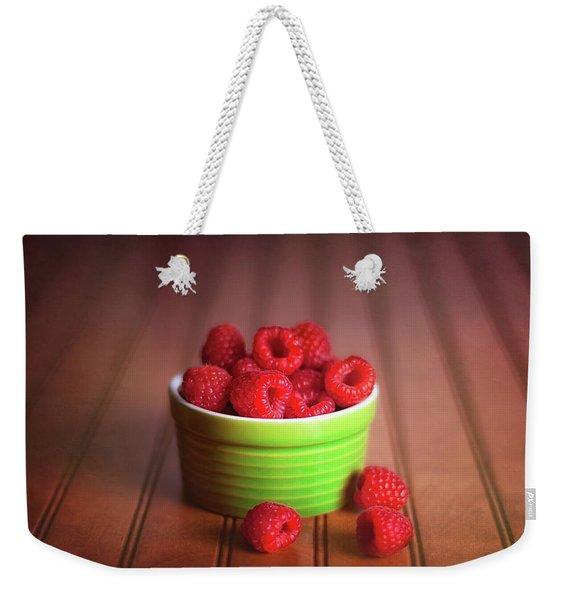 Red Raspberries Still Life Weekender Tote Bag