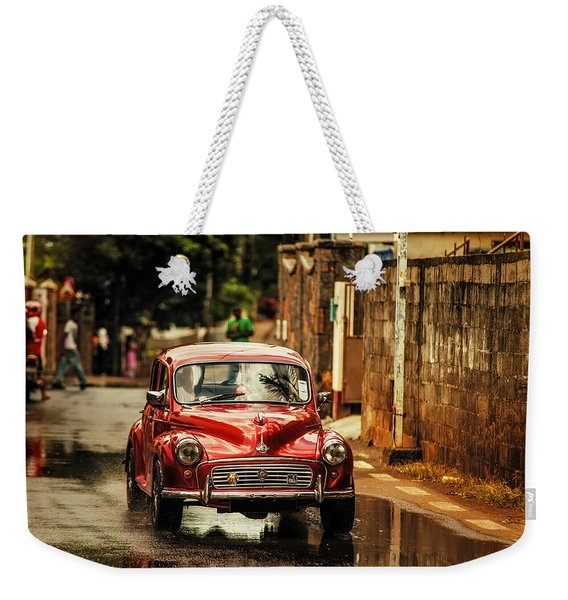 Red Retromobile. Morris Minor Weekender Tote Bag