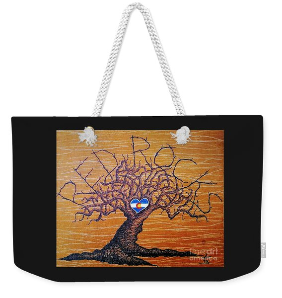 Weekender Tote Bag featuring the drawing Red Rock Colorado Love Tree by Aaron Bombalicki