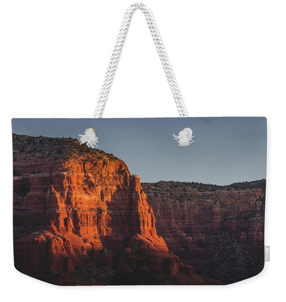 Weekender Tote Bag featuring the photograph Red Rock Formations At Sunrise by Andy Konieczny
