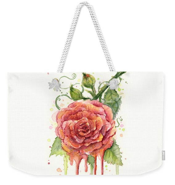 Red Rose Dripping Watercolor  Weekender Tote Bag