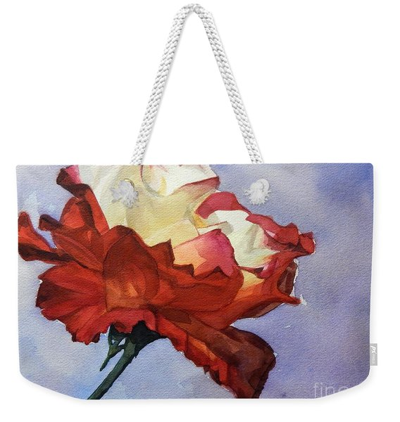 Watercolor Of A Red And White Rose On Blue Field Weekender Tote Bag