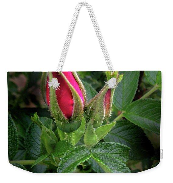 Red Rugosia Bud Weekender Tote Bag