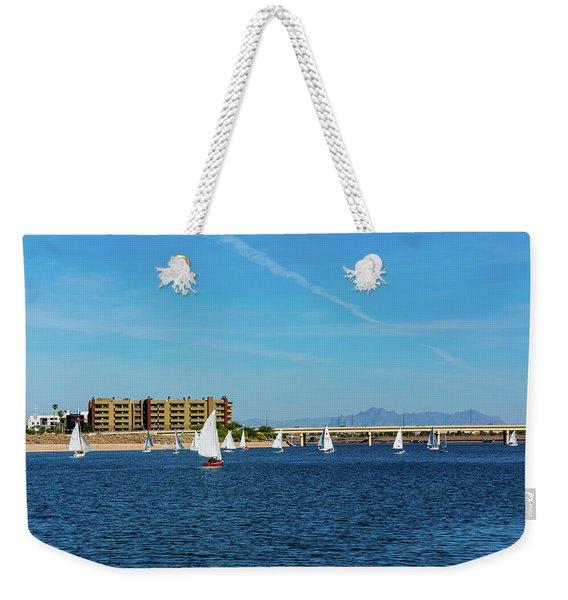 Red Sailboat In The Desert Weekender Tote Bag