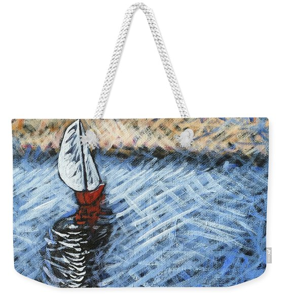 Red Sailboat Weekender Tote Bag