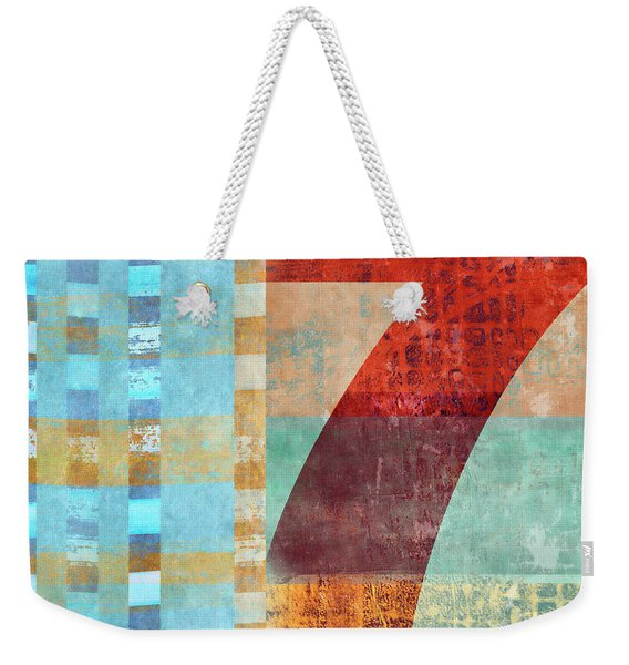 Red Seven And Stripes Mixed Media Weekender Tote Bag