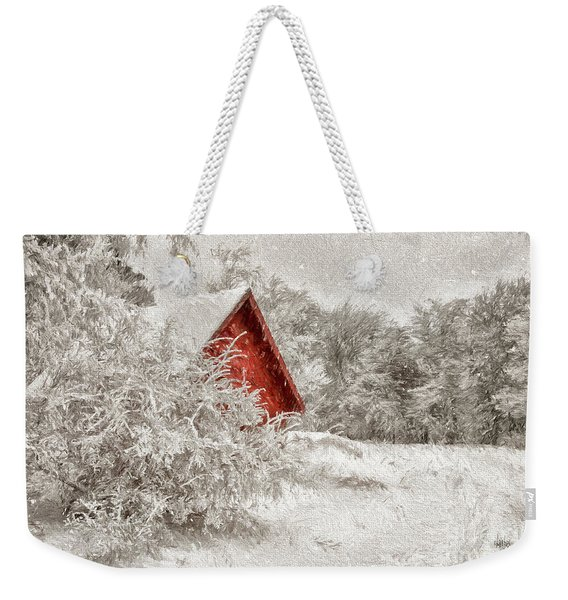 Red Shed In The Snow Weekender Tote Bag