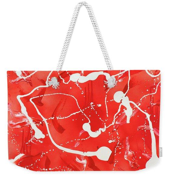 Red Spill Weekender Tote Bag