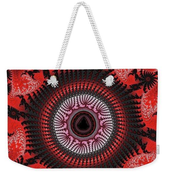 Red Spiral Infinity Weekender Tote Bag