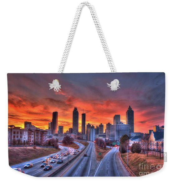 Red Sunset Atlanta Downtown Cityscape Weekender Tote Bag