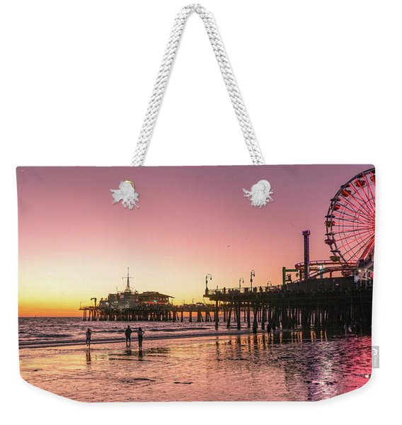 Weekender Tote Bag featuring the photograph Red Sunset In Santa Monica by Michael Hope