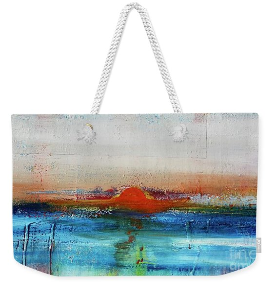 Weekender Tote Bag featuring the painting Red Sunset by Kim Nelson